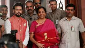 India's Finance Minister Nirmala Sitharaman arrives to present the 2019 budget in Parliament, New De