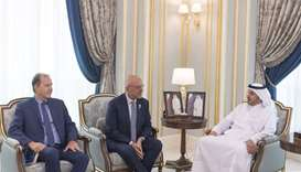 HE the Prime Minister and Minister of Interior Sheikh Abdullah bin Nasser bin Khalifa al-Thani met i