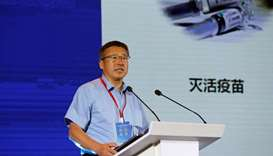 Co-Founder of CanSino Biologics Qiu Dongxu delivers a speech on the progress of company's coronaviru