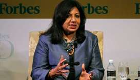 India's Biocon Ltd Chairman and Managing Director Kiran Mazumdar-Shaw speaks during the Forbes Globa