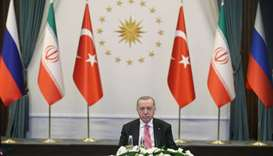 Turkish President Tayyip Erdogan attends a video conference call, dedicated to the conflict in Syria