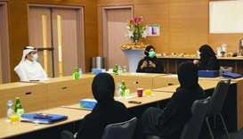 HE the Minister of Public Health, Dr Hanan Mohamed al-Kuwari, attending a meeting with the Covid-19