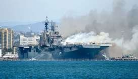 Fire aboard the US Navy amphibious assault ship USS Bonhomme Richard in San Diego
