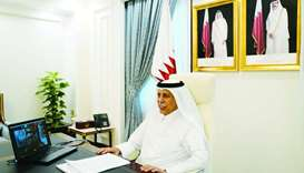 HE the Speaker of the Shura Council Ahmed bin Abdullah bin Zaid al-Mahmoud, chairing the meeting of