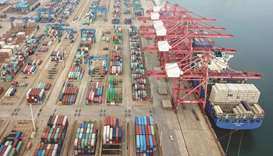 Containers stacked at a port in Lianyungang in China's eastern Jiangsu province. Chinese trade enjoy