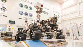 A handout photo, released by Nasa, of engineers in a clean room at the Jet Propulsion Laboratory in