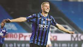 Atalanta's Mario Pasalic celebrates scoring their sixth goal and completing his hat-trick against Br
