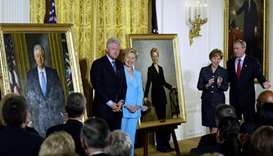 In this file photo taken on June 14, 2004 Former US President Bill Clinton (L) and Senator Hillary C