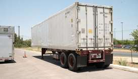 A refrigerated trailer that the San Antonio health authorities acquired to store bodies, as morgues