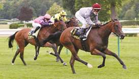Cristian Demuro (right) rides Chorba to Prix des Bains Pompeins victory at Compiegne in France yeste