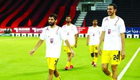 QNB Stars League players warm up wearing special jerseys showing appreciation and gratitude for the