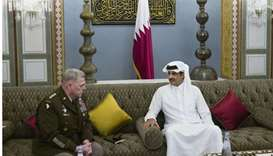 His Highness the Amir Sheikh Tamim bin Hamad Al-Thani meets with  General Mark Milley, Chairman of t