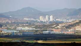 Kaesong city is seen behind the inter-Korean Kaesong Industrial Complex