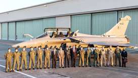 Indian jetfighters pilots, Dassault Aviation CEO Eric Trappier (8thL) next to Shri Ambassador of Ind