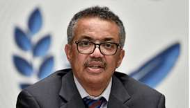 World Health Organization (WHO) Director-General Tedros Adhanom Ghebreyesus attends a news conferenc