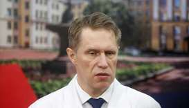 Russian Minister of Health Mikhail Murashko speaks during a demonstration prior to the opening of a