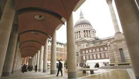 The walkway seen outside the London Stock Exchange building in Paternoster Square. The FTSE 100 clos