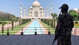 A member of Central Industrial Security Force (CISF) personnel stands guard inside the empty premise