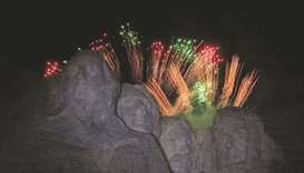 South Dakota's US Independence Day Mount Rushmore fireworks are launched during celebrations at Keys