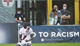 Bologna's Musa Barrow celebrates after scoring a goal against Inter Milan during their Serie A match
