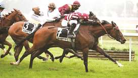 Soufiane Saadi (foreground) rides Mayyatello to Prix Husse victory at Nantes, France, on Saturday. (