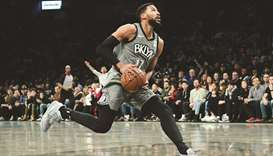 Garrett Temple of the Brooklyn Nets in action against the Atlanta Hawks during a regular NBA game at