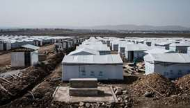 Shelters are seen at a newly built internally displaced person (IDP) camp which will host about 1900