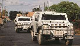 A unit of the United Nations peacekeeping force in Lebanon (UNIFIL) patrols the coastal Qlaileh vill