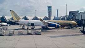 The tail of a Gulf Air passenger aircraft was hit by another plane at Dubai International Airport on