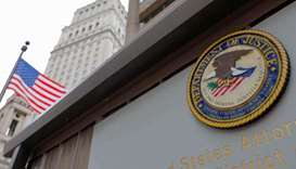(File photo) The seal of the US Department of Justice is seen on the building exterior of the US Att