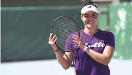 Tunisian tennis player Ons Jabeur poses during a training session ahead of the Tokyo Olympics in T