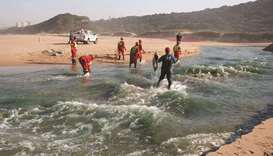 File photo shows members of a hazardous waste cleanup crew collect dead fish, after chemicals entere