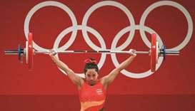India's Chanu Saikhom Mirabai competes in the women's 49kg weightlifting competition during the Toky