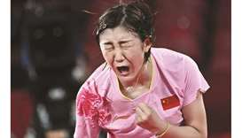 China's Chen Meng celebrates after defeating compatriot Sun Yingsha in the women's singles table ten