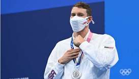 Silver medallist USA's Ryan Murphy poses with his medal after the final of the men's 200m backstroke