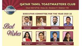 The new executive committee of Qatar Tamil Toastmasters Club for the year 2021-2022 has assumed offi