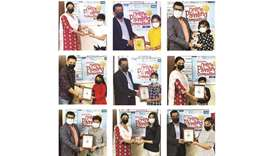 Winners of an interschool online painting competition held in connection with the International Day