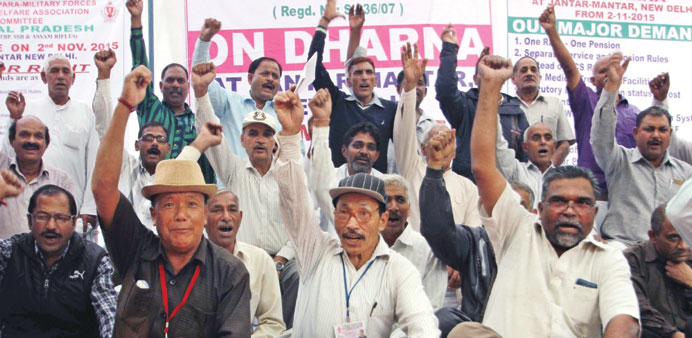 Former paramilitary personnel stage a demonstration demanding 'one rank one pension' at Jantar Manta