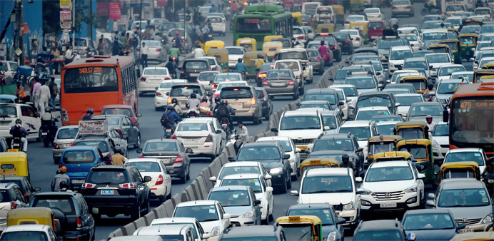 Vehicles clog the roads of New Delhi