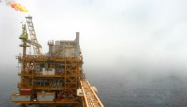 An oil production platform at Iran's Soroush oil fields