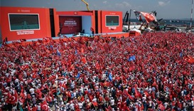 Erdogan arrives at mass rally in Istanbul against attempted coup