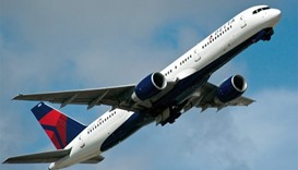 A Delta Airlines jet takes off