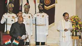 Indian President Ram Nath Kovind administers the oath of the new Vice President Venkaiah Naidu durin
