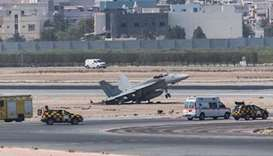 F/A 18E fighter aircraft after emergency landing at Bahrain international airport