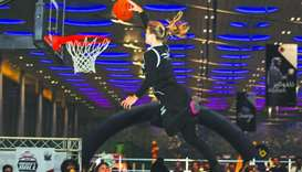 Dunking Devils performing with their star female member.