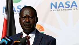 Opposition leader Raila Odinga speaks at a news conference