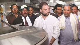 Congress vice president Rahul Gandhi inaugurates the Indira Canteen in Bengaluru yesterday.