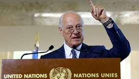 UN Special Envoy for Syria de Mistura attends a news conference at the United Nations in Geneva