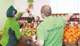 VkusVill, a Moscow grocery store chain, radiates whole-food healthfulness. The company logo is deep