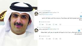 Sheikh Abdulrahman bin Hamad al-Thani, CEO of Qatar Media Corporation. A screen grab of his tweets
